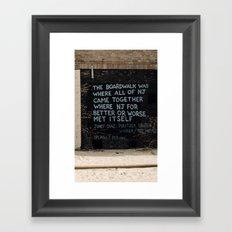 Jersey Shore Boardwalk / Junot Diaz Quote Framed Art Print