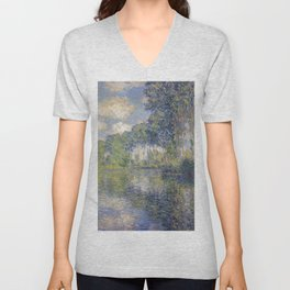 1891-Claude Monet-Poplars on the Epte-81 x 81 Unisex V-Neck