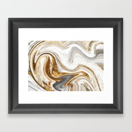 Gold, White, and Gray Abstract Painting Framed Art Print