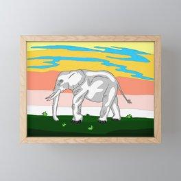 Elephant Touching the Grass Framed Mini Art Print