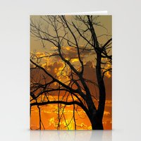 jewish Stationery Cards featuring Sunset Tree by Brown Eyed Lady