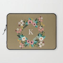 Floral Brown Monogram K Laptop Sleeve