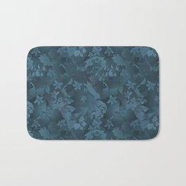 Blue satin floral pattern . Bath Mat