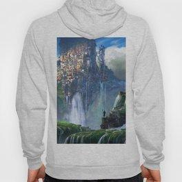 Idyllic Alien Fantasy Waterfall Mega City World Warrior Silhouette Ultra HD Hoody
