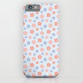 Blue Pink Flower Pattern iPhone Case