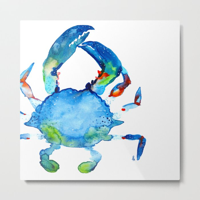 Blue Claw Crab - Nautical - Summer - Ocean - Sea Life Metal Print