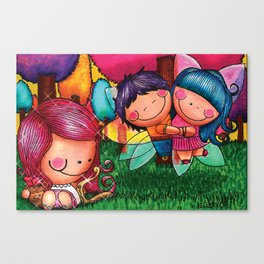 Love Angel - Fun, sweet, unique, creative and very colorful, original, acrylic children illustration Canvas Print