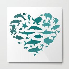 HEART SEA ANIMALS Metal Print
