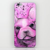 frenchie iPhone & iPod Skins featuring Frenchie  by ClarissaLynnArt