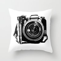 camera Throw Pillows featuring Camera by Luisa Mähringer