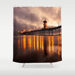 Sunset Huntington Beach Pier   Shower Curtain