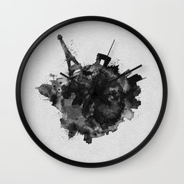 Paris, France Black and White Skyround / Skyline Watercolor Painting Wall Clock