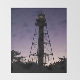 Sanibel Island Lighthouse Sunset Throw Blanket