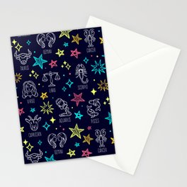 New Age Spiritual Meditation Zodiac Horoscope Star Signs Design Stationery Cards