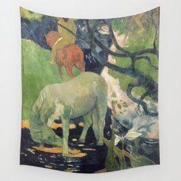 The White Horse by Paul Gauguin Wall Tapestry