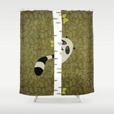 A shy raccoon Shower Curtain