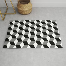 Cube Pattern Black White Grey Rug