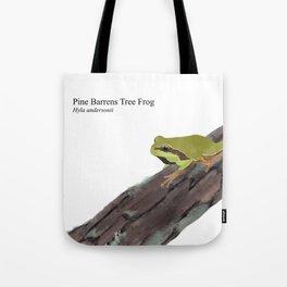 Pine Barrens Tree Frog (Hyla andersonii) on Pitch Pine Log Tote Bag
