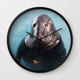 Grey Seal Wall Clock