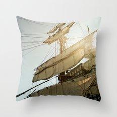 Tall Ship in Boston Harbor Throw Pillow