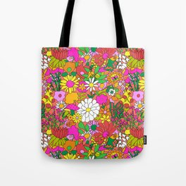 60's Groovy Garden in Neon Peach Coral Tote Bag