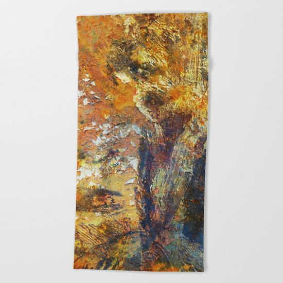 Yellow and Blue Wall Beach Towel