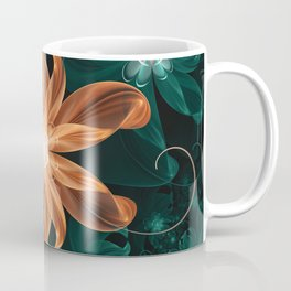 Alluring Turquoise and Orange Tiger Lily Flower Coffee Mug