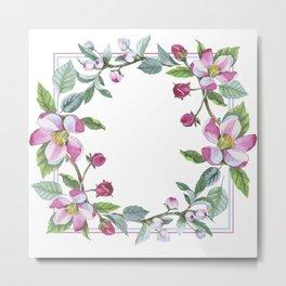 Apple Blossom Frame 02 Metal Print
