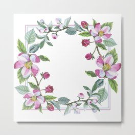 Apple Blossom Frame 02 Metal Print