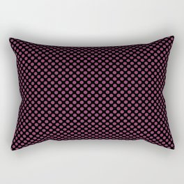 Black and Boysenberry Polka Dots Rectangular Pillow