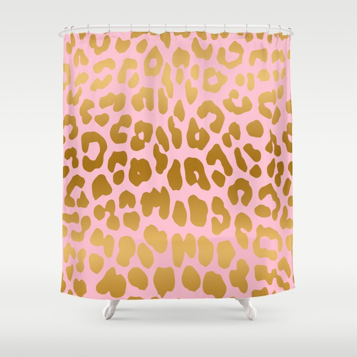 Leopard Pink Gold Shower Curtain By Isabellebaafi