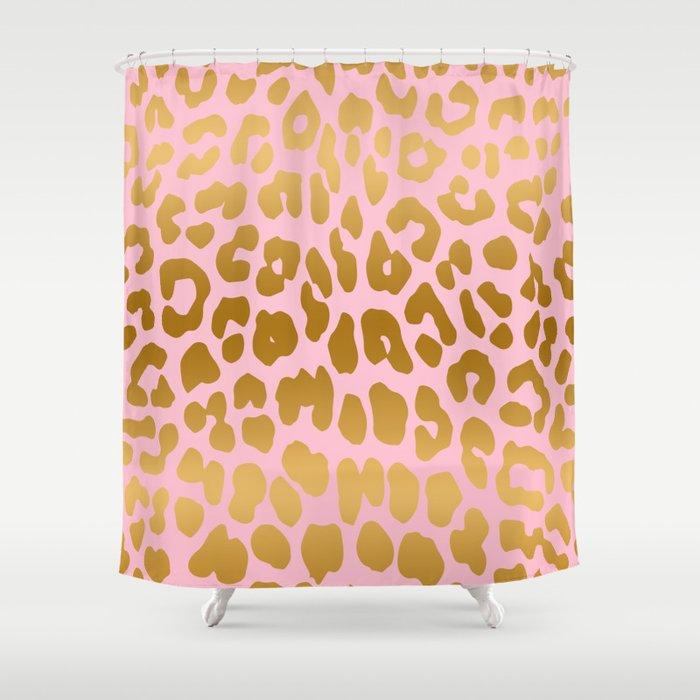 Leopard Pink Gold Shower Curtain