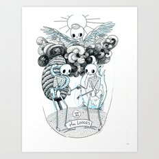 The Lovers Skeleton Tarot Art Print