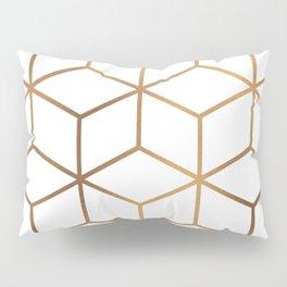 White and Gold - Geometric Cube Design Pillow Sham