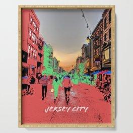 Jersey City Newark Avenue Pop Art Painted Photograph Serving Tray