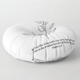 Psalm 52:8 Olive Branch Line Art Sketch Floor Pillow