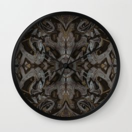Curves & lotuses, abstract floral pattern, charcoal black, dark brown and taupe Wall Clock