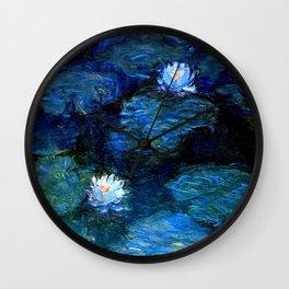 monet water lilies 1899 blue teal Wall Clock