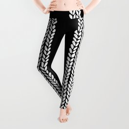 Cable Row Black Leggings