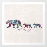 bears Art Prints featuring Bears by Watercolorist