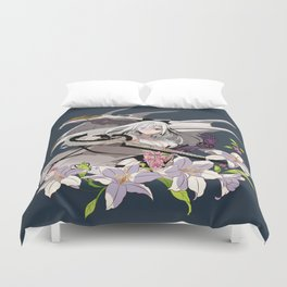 Lady and Dragon Duvet Cover