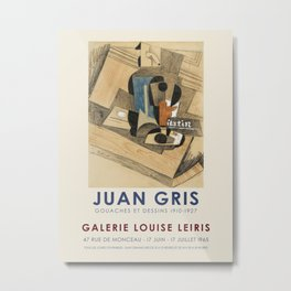 Juan Gris. Exhibition poster for Galerie Louise Leiris in Paris, 1965. Metal Print