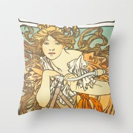 Cycles Perfecta by Alphonse Mucha, 1902 Throw Pillow