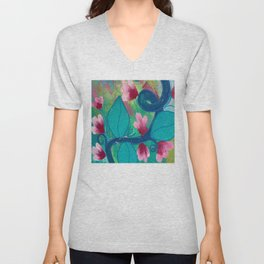 Pretty Flowers on a Fat Vine Unisex V-Neck