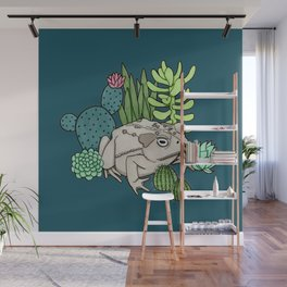 Toad with Succulents - Dark Turquoise Wall Mural