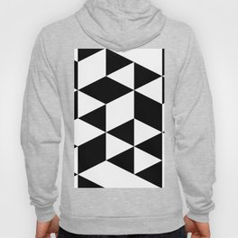 Black and White Geometric Triangle Shaped Abstract Hoody
