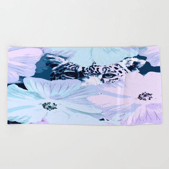 Behind the scenes - big cat hiding behind the flowers - lovely colors Beach Towel