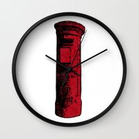 british Wall Clocks featuring British Postbox by Carrie at Dendryad Art