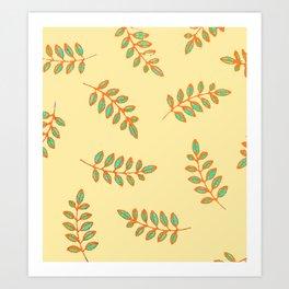 Speckled Leaf Prints in orange, teal blue on pale yellow Art Print
