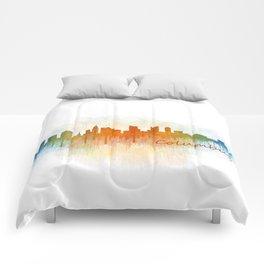 Columbus Ohio, City Skyline, watercolor  Cityscape Hq v3 Comforters